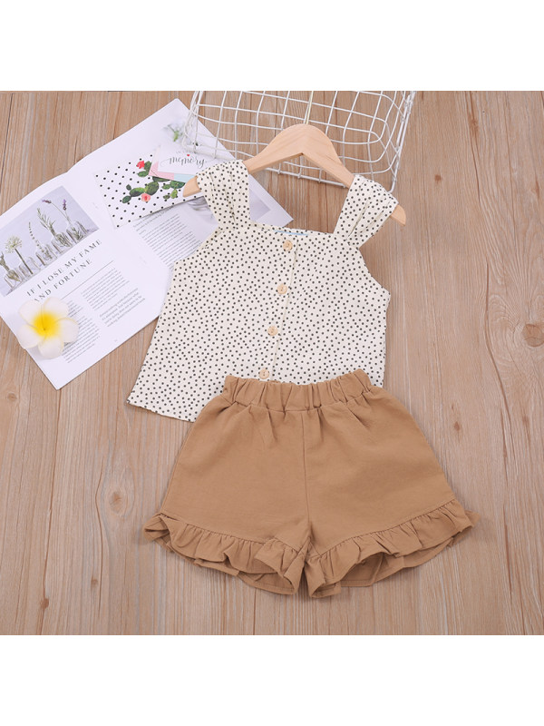 【18M-7Y】Girls Short-sleeved Top and Shorts Two-piece Suit