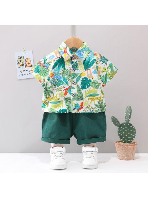 【3M-4Y】Boys Full Print Coconut Short-sleeved Shorts Suit