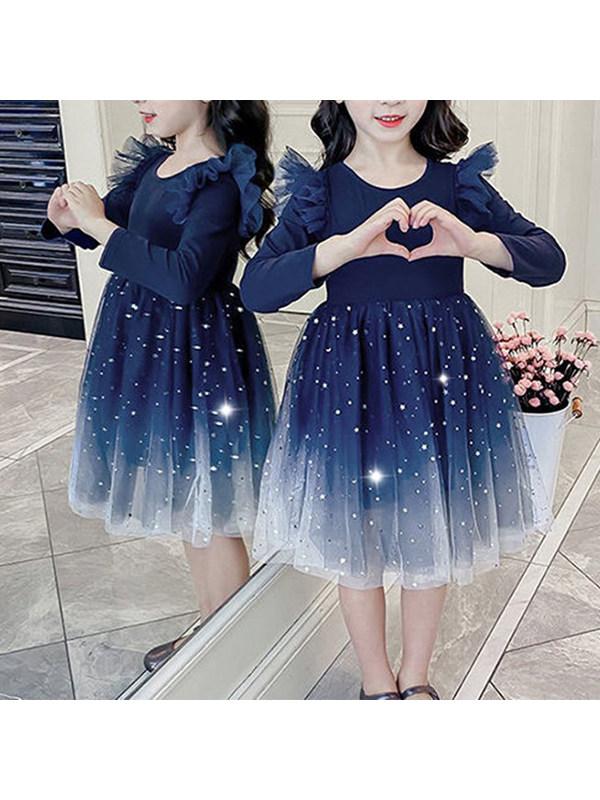 【2Y-9Y】Girls' Long-sleeved Net Gauze Stitching Hem Starry Sky Print Dress