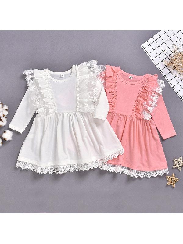 【12M-5Y】Girls Sweet Lace Long Sleeve Dress