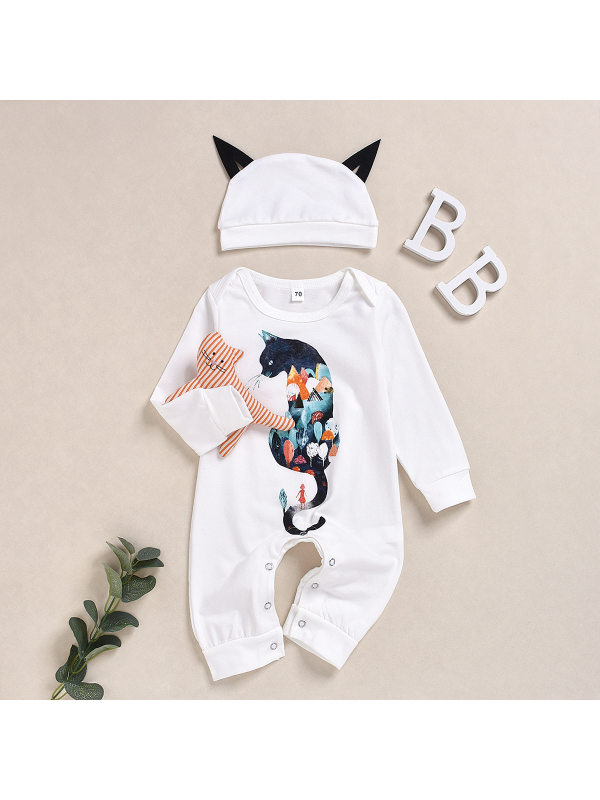 【6M-3Y】Baby Cartoon Cat Print Long-Sleeved Jumpsuit with Hat