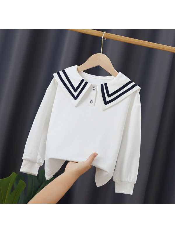 【3Y-11Y】Big Girl's Lapel Cotton Sweatshirt
