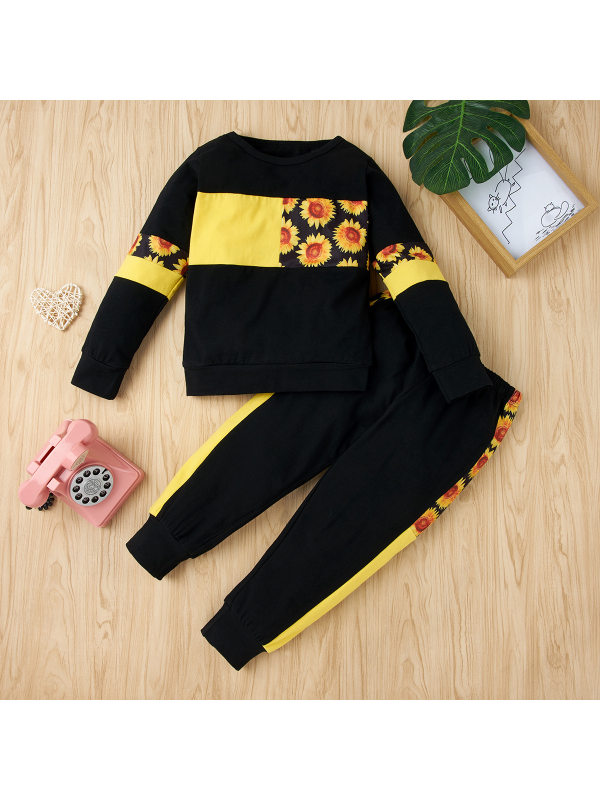 【18M-7Y】Girl Sunflower Print Stitching Comfortable Long-sleeved Trousers Suit