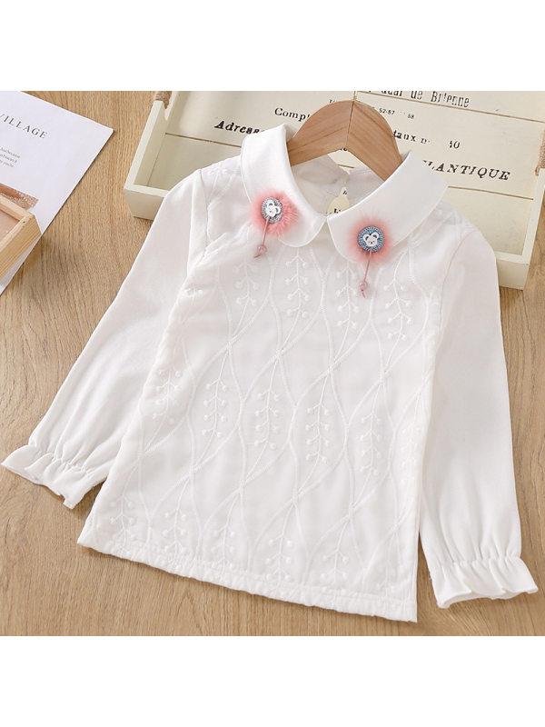 【3Y-11Y】Big Girl's Long-sleeved Cotton Doll Collar T-shirt