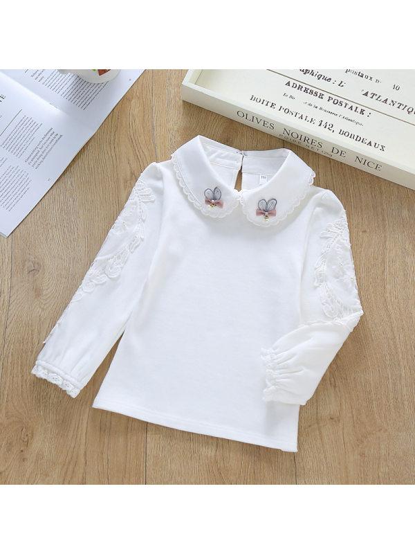 【3Y-11Y】Girls Cotton Doll Collar Long Sleeve T-shirt