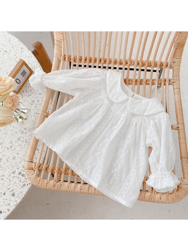 【12M-7Y】Girls White Lapel Long Sleeve Shirt