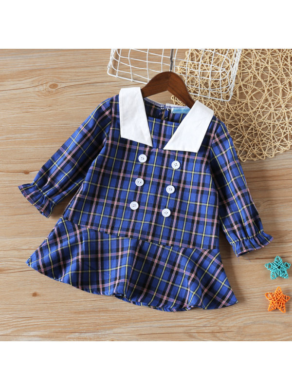 【2Y-9Y】Girls Plaid Pattern Lapel Long Sleeve Dress