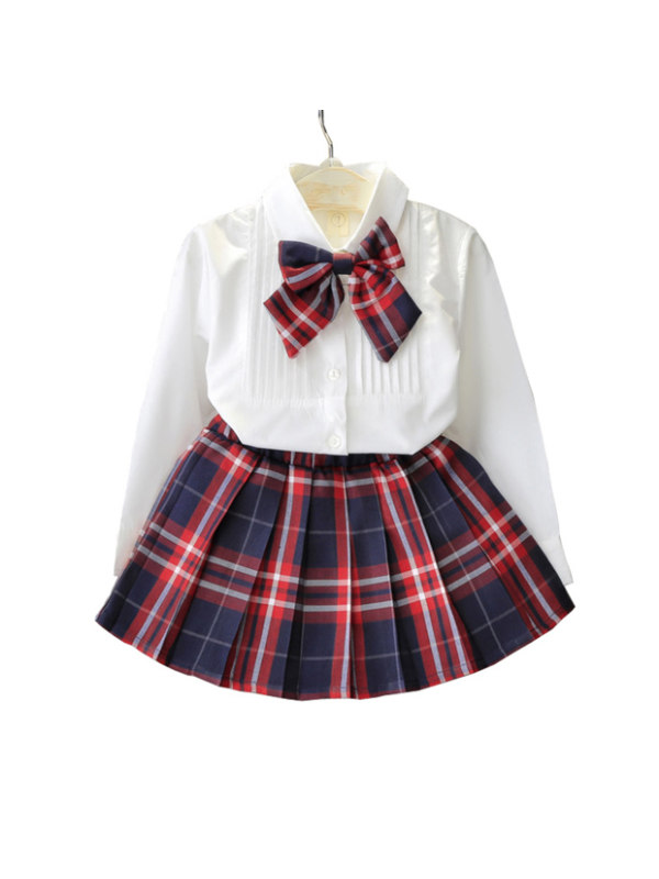 【18M-7Y】Girls Long-Sleeved Shirt and Plaid Skirt Suit