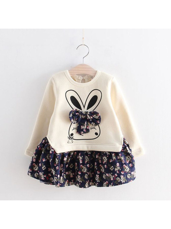 【18M-7Y】Girls Long-Sleeved Blouse Stitching Floral Dress