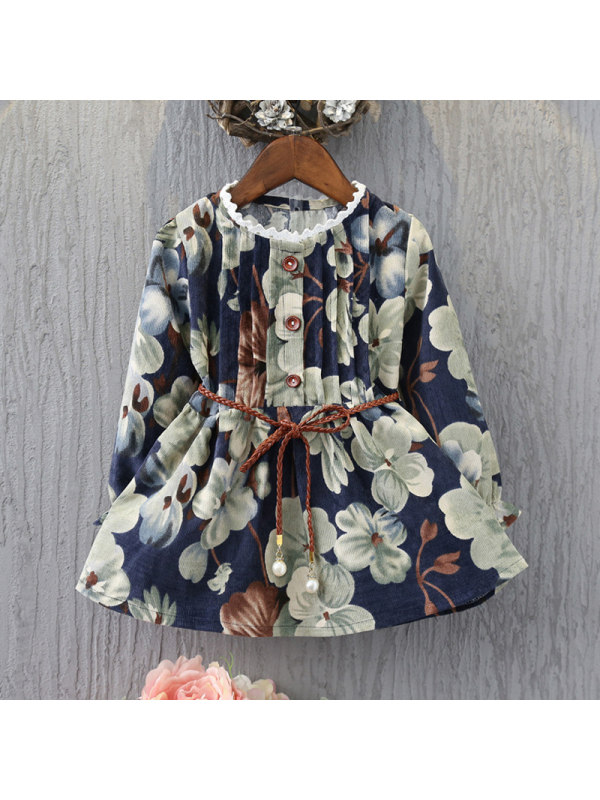 【2Y-9Y】Girls Round Neck Floral Print Dress