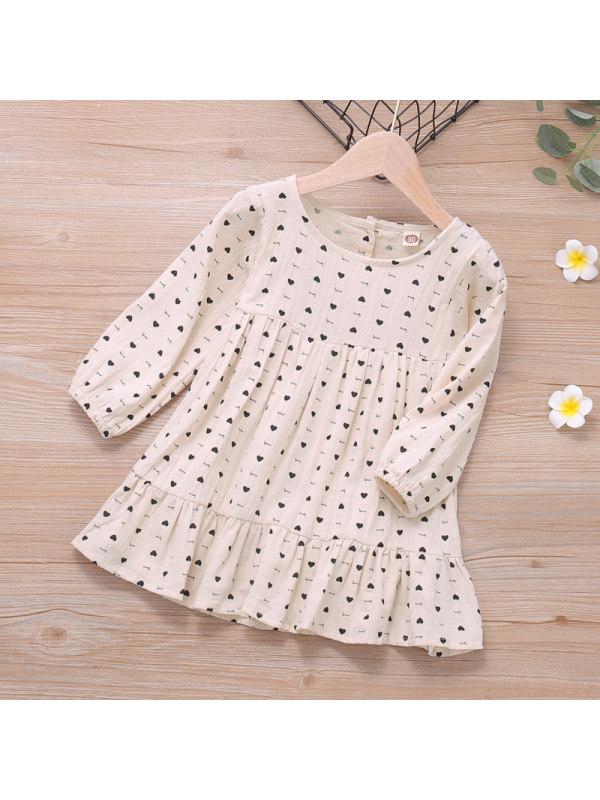 【18M-7Y】Girls Love Print Long-sleeved Dress