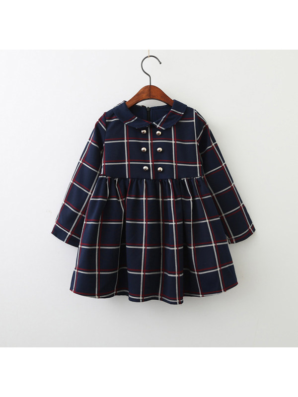 【18M-7Y】Girls Check Long Sleeve Dress