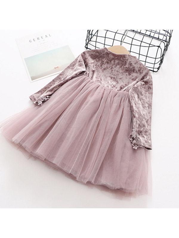【18M-7Y】Girls' Velvet Stitching Long-sleeved Dress