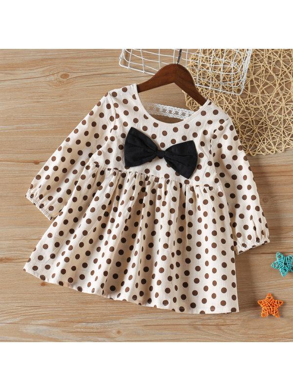 【2Y-9Y】Girls Polka Dot Bow Dress