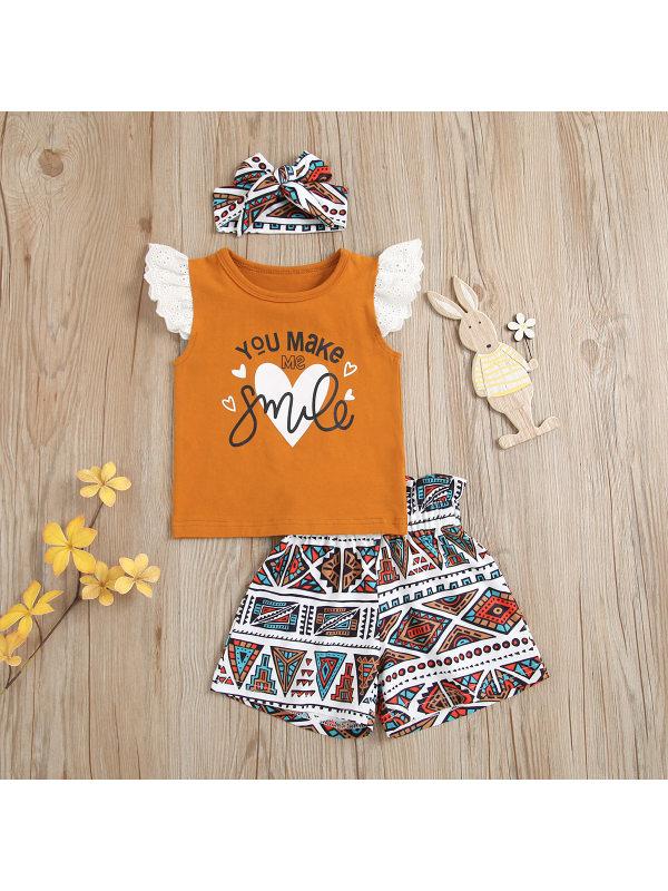 【18M-5Y】Girls Short-Sleeved Smile Printed Shorts Suit