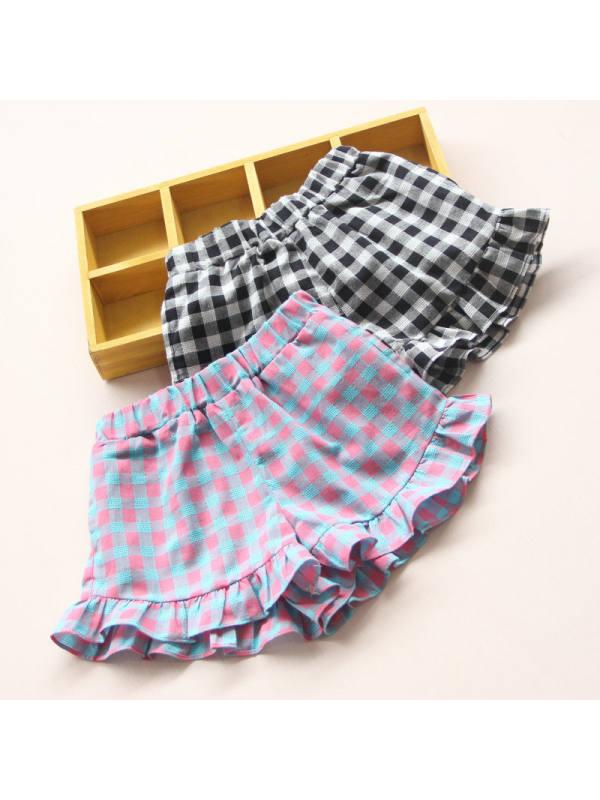 【2Y-13Y】Girls Thin Plaid Casual Shorts