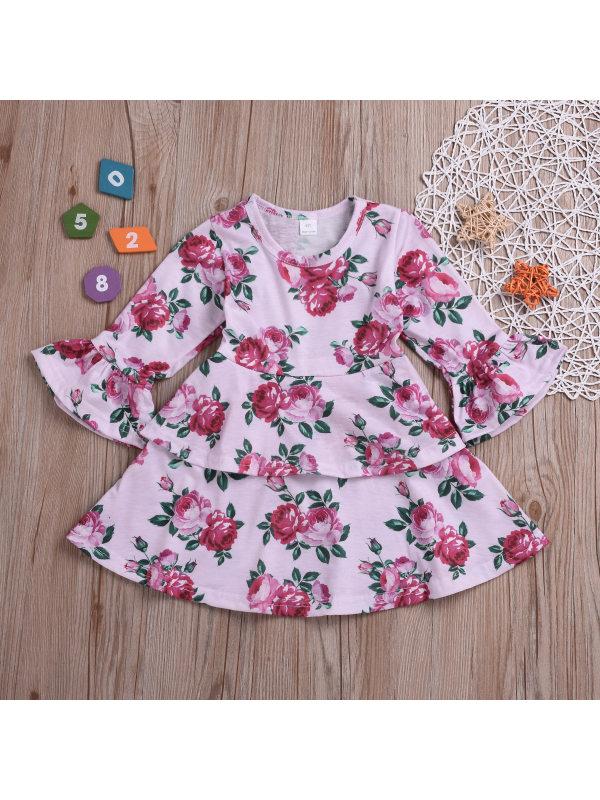 【12M-5Y】Girl Pink Rose Flower Print Dress