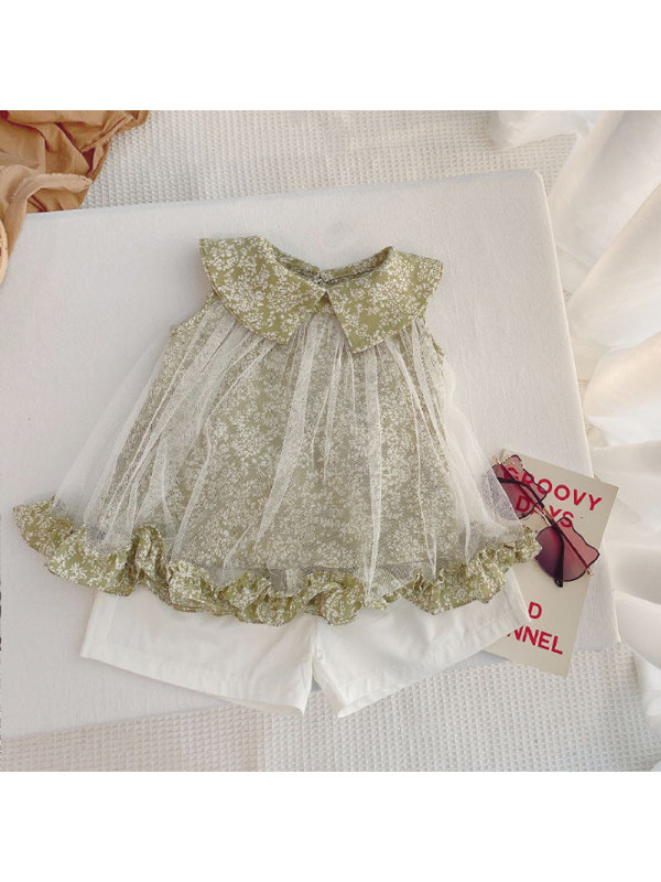 【12M-7Y】Girls Doll Collar Sleeveless Top and Shorts Suit