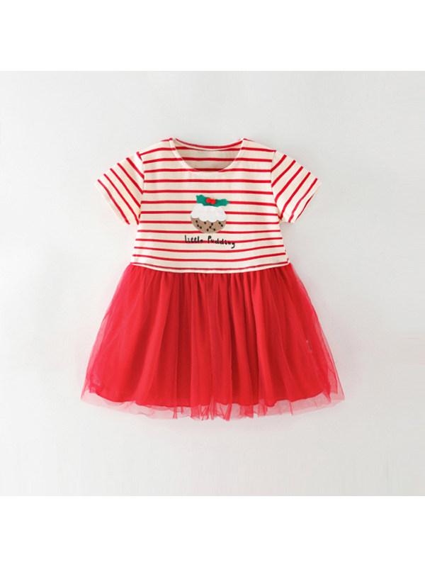 【18M-9Y】Girls' Lace Stitching Dress