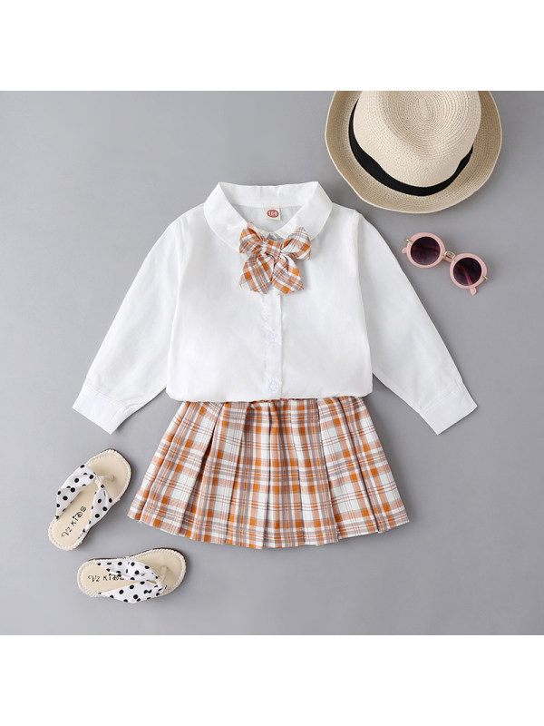 【18M-7Y】Girls Lapel Bow Tie Shirt with Plaid Skirt Suit