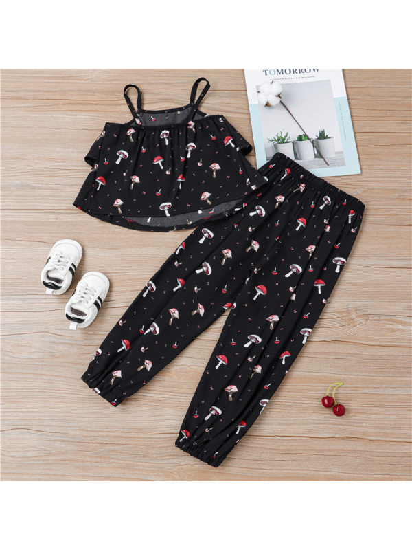 【18M-7Y】Girls Printed Camisole Casual Trousers Suit