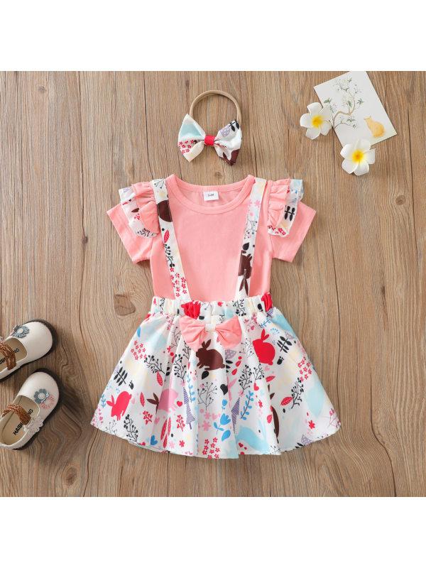 【12M-5Y】Girls Flying Sleeves Top and Full Print Suspender Skirt Suit