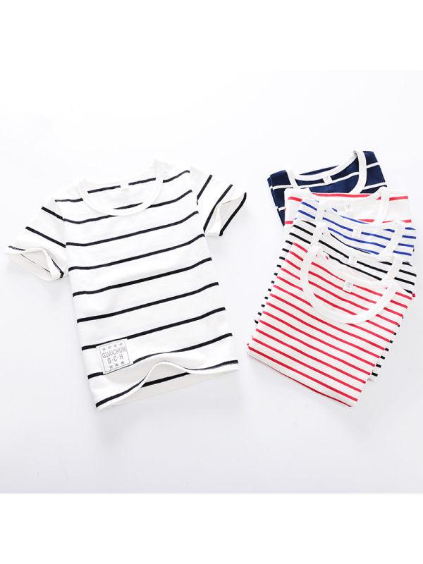 【2Y-9Y】Girls Striped Short-Sleeved T-shirt