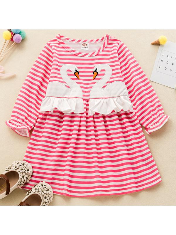 【18M-7Y】Girls Sweet Striped Swan Pattern Long-sleeved Dress