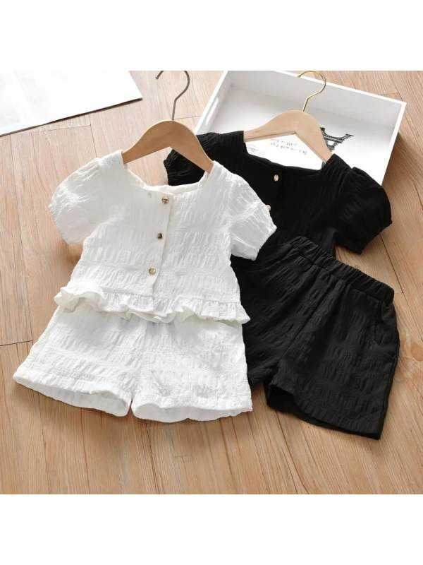 【18M-9Y】Girls Short Sleeve Square Collar Top and Shorts Set