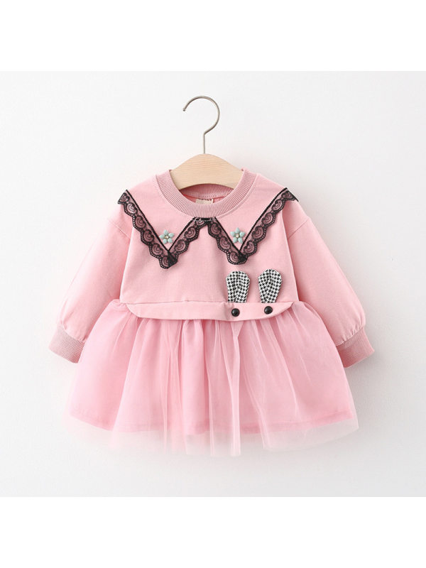【9M-3Y】Girls Sweet Long-Sleeved Solid Color Mesh Dress
