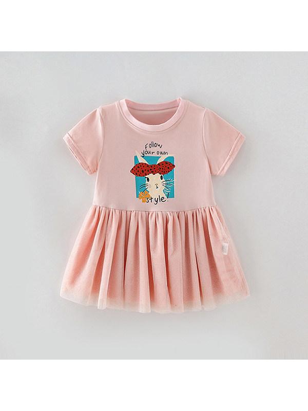 【18M-9Y】Girl's Cartoon Printed Mesh Stitching Dress