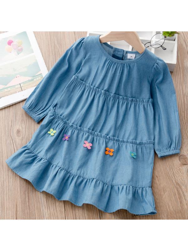 【18M-7Y】Girls Sweet Denim Applique Long Sleeve Dress