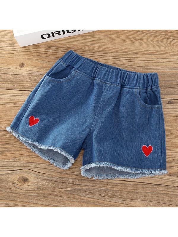 【2Y-13Y】Girl Love Embroidered Denim Shorts