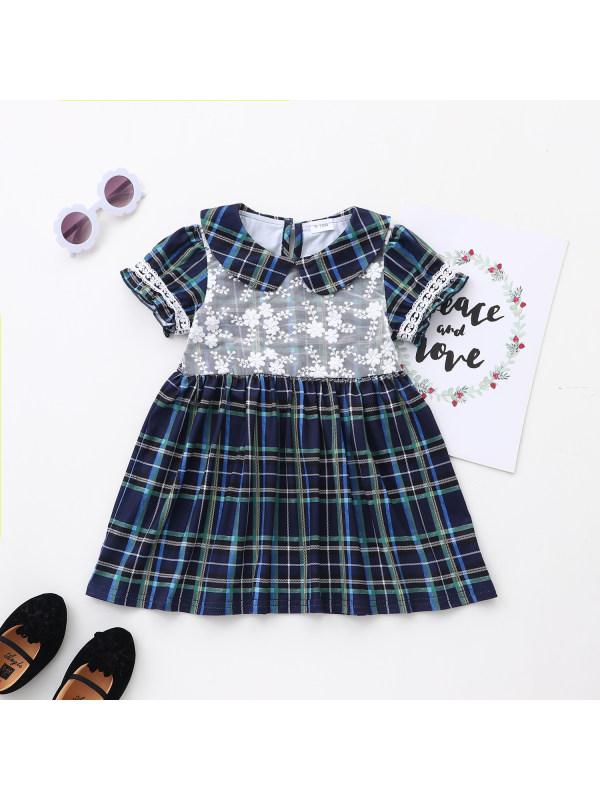【6M-24M】Girls Short-Sleeved Plaid Dress