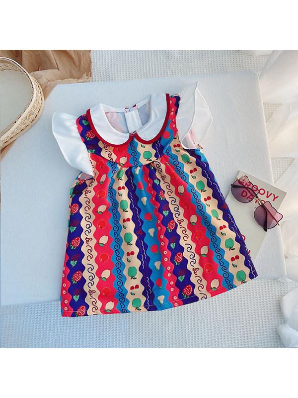 【12M-7Y】Girls Fruit Flying Sleeve Chiffon Doll Collar Dress