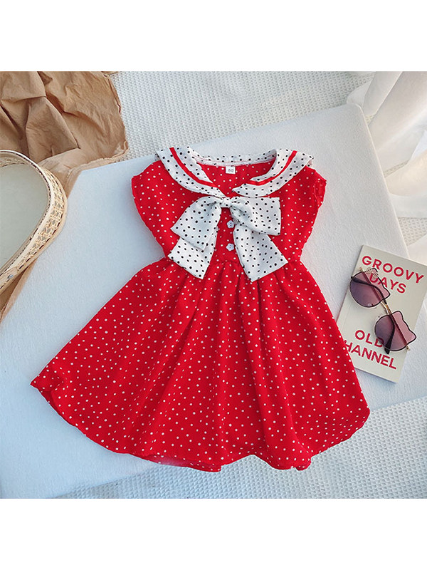 【12M-7Y】Girls Chiffon Sleeveless Navy Collar Polka Dot Dress