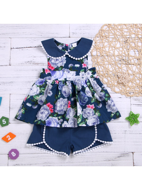 【12M-5Y】Girls Doll Collar Flower Blouse and Shorts Suit