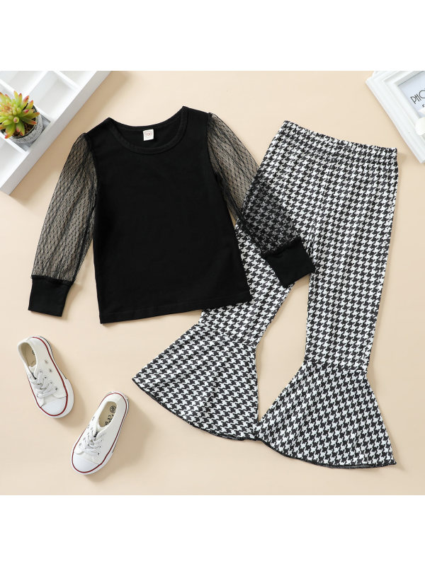 【18M-7Y】Girls Mesh Sleeve Top and Houndstooth Pants Set