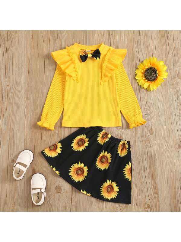【12M-5Y】Girls Sunflower Printed Half-Skirt Suit