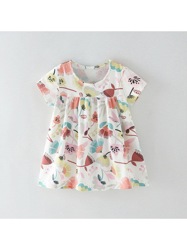 【18M-9Y】Girls Floral Print Short Sleeve Dress
