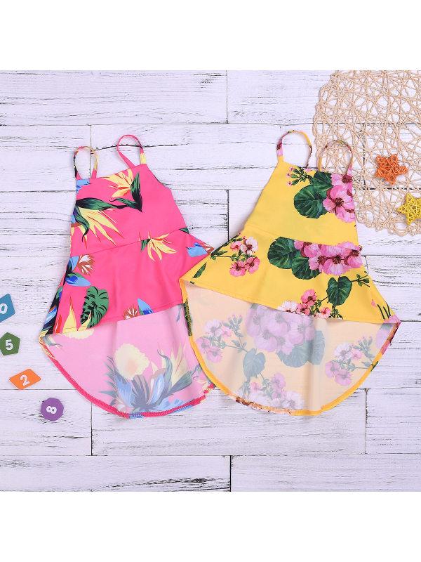 【12M-5Y】Girls Flower Print Sling Strap Dress