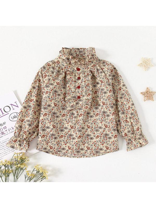 【18M-7Y】Girls Stand Collar Floral Lotus Leaf Sleeve Shirt