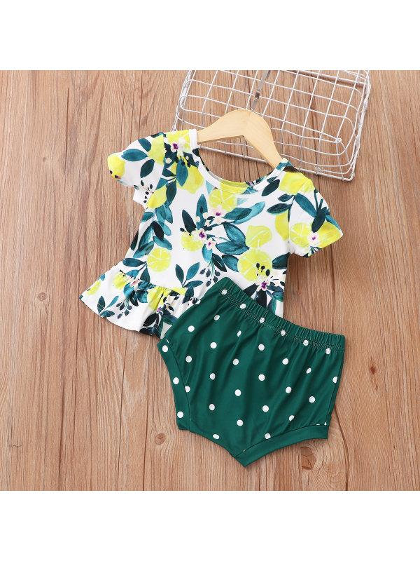 【6M-24M】Infant Short-sleeved Lemon Print Suit