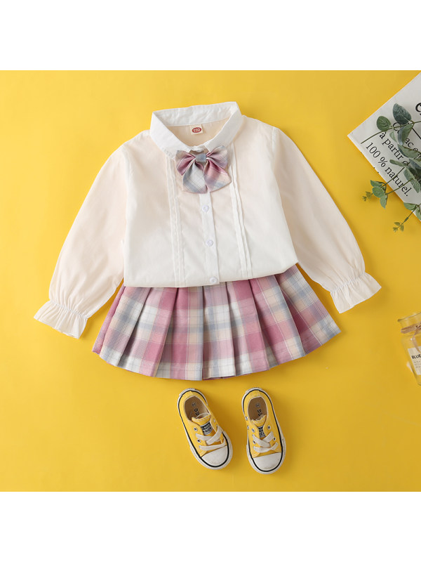 【3Y-13Y】Girls Bowknot Shirt and Pleated Skirt Two-piece Suit