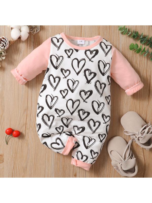 【0M-24M】Cute Heart Shape Print Round Neck Long Sleeve Romper
