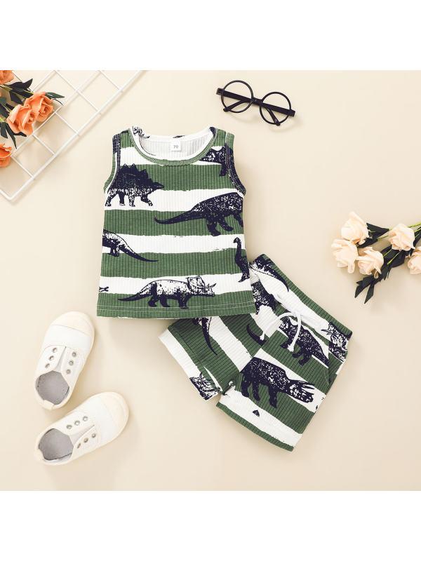 【6M-4Y】Boys Hanging Dinosaur T-shirt Pants Suit