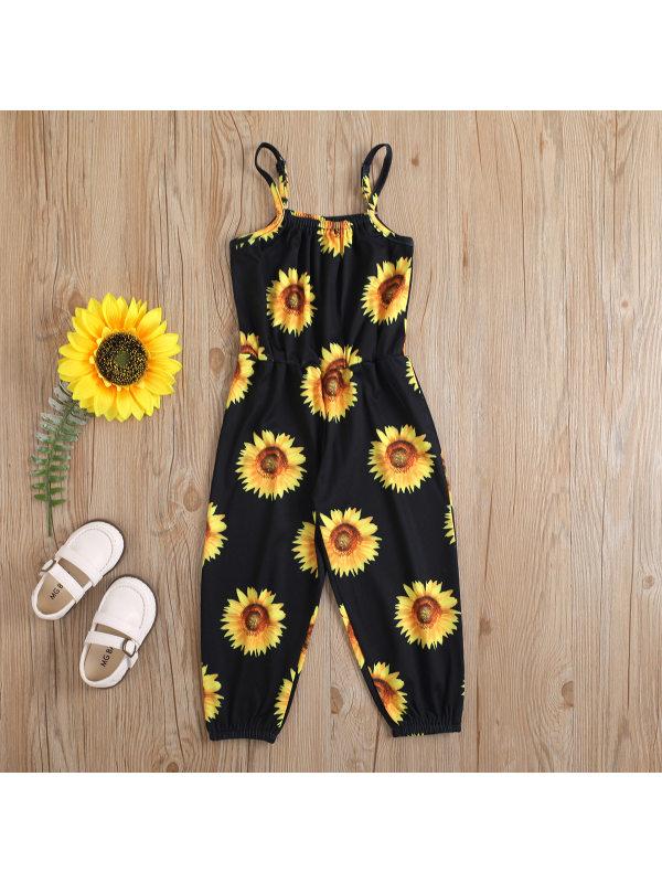 【12M-5Y】Girl Ice Silk Sunflower Sling Strapless One-Piece Slimming Jumpsuit