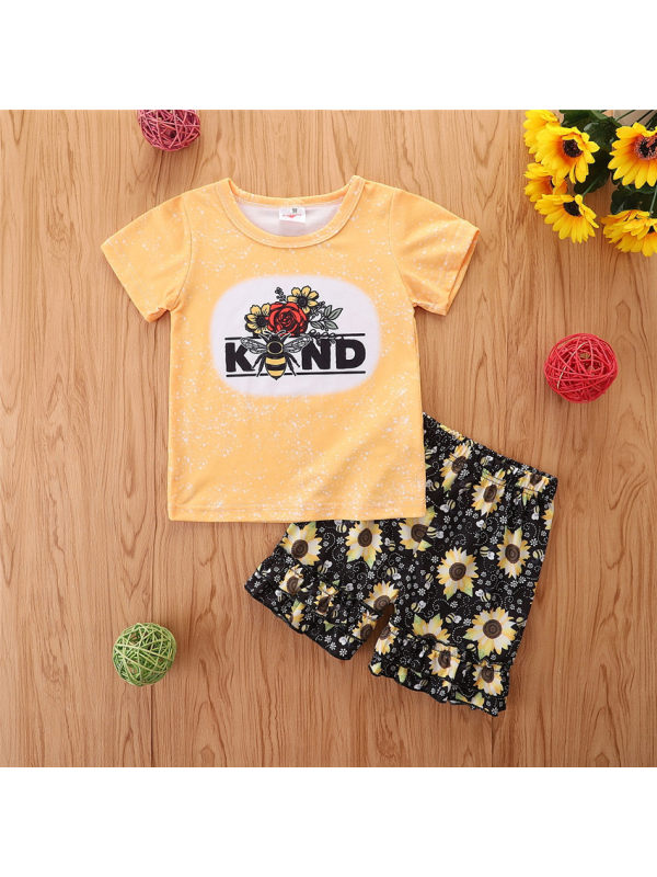 【18M-5Y】Girls Casual Melissa Print T-shirt Shorts Two-piece Suit
