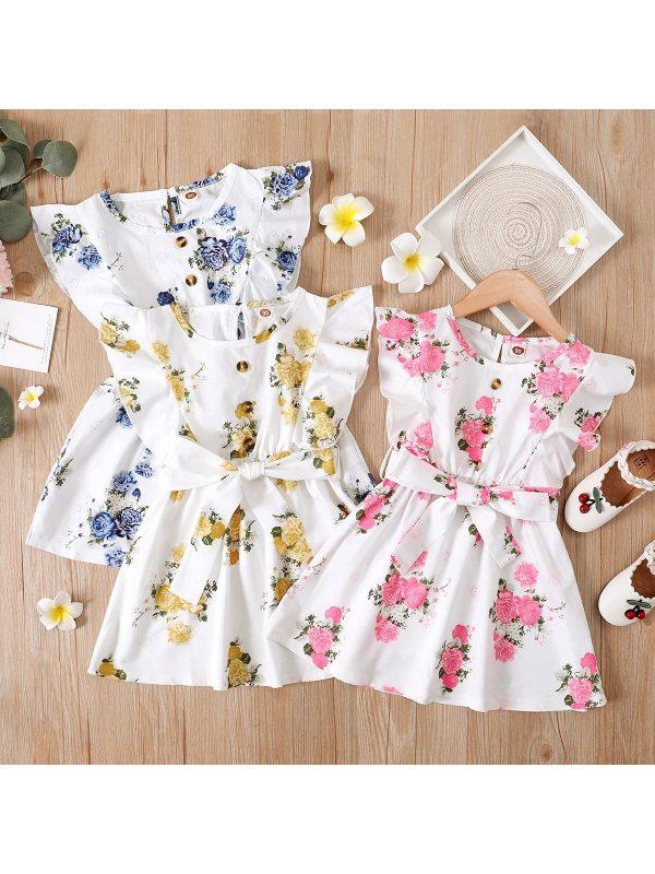 【18M-7Y】Girls Lotus Leaf Printed Belted Dress