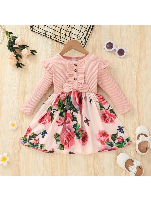 【18M-6Y】Girls Floral Print Long-Sleeved Dress